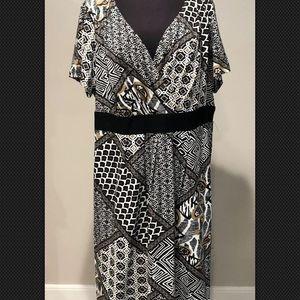 Coldwater Creek Plus Sz 2X faux Wrap dress printed